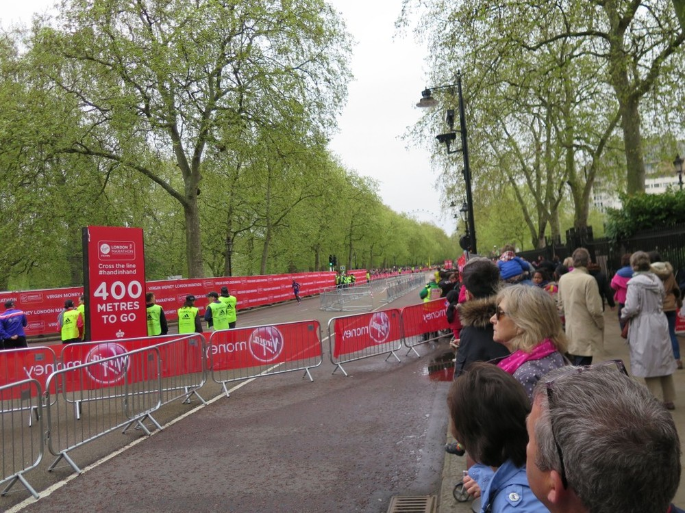 We could see runners come down Birdcage Walk and turn right into the race's final stretch.
