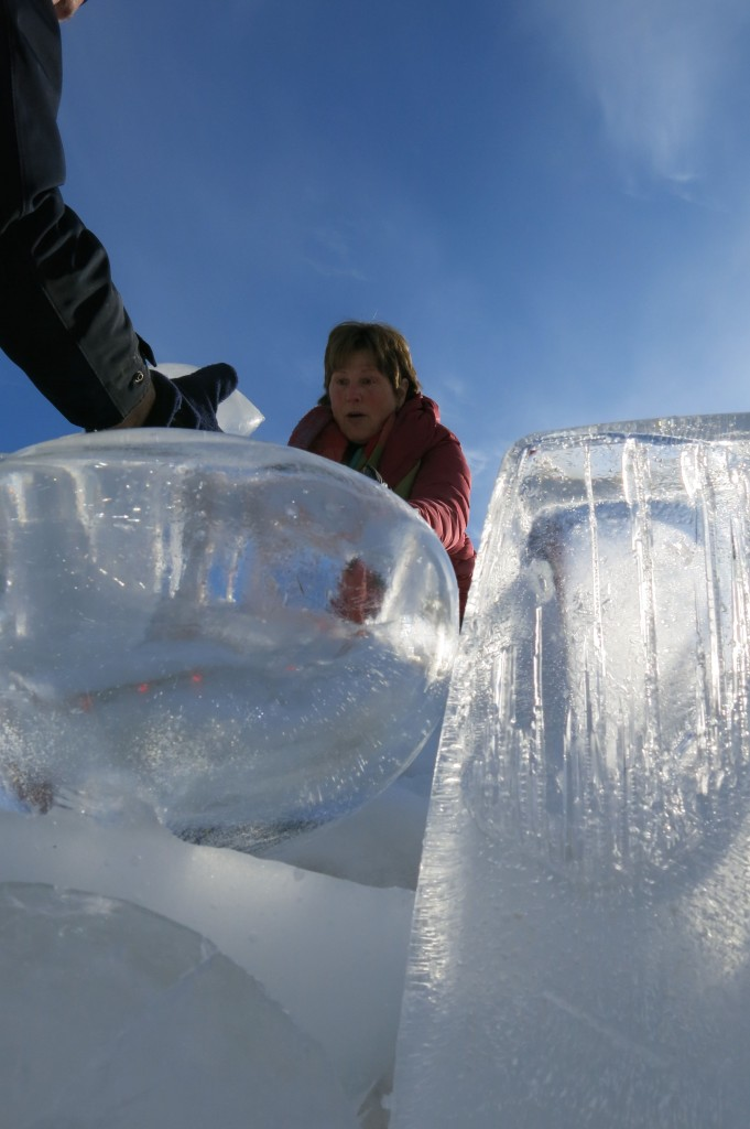 Artist Sherri Streeter helped create and assemble the ice forms.