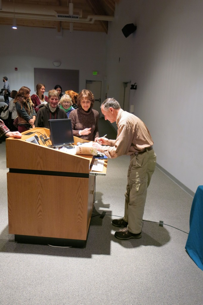 After Bernd Heinrich held a Moore Auditorium audience rapt with his talk on animals in winter, his fans lined up with books and nature questions.