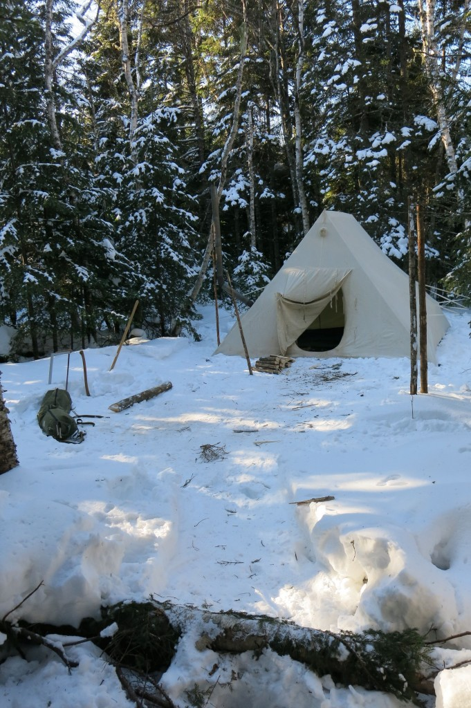 In case you were wondering about that winter tent site set up in Garrett Conover's workshop, here it is. Look closely and you'll see a metal chimney coming out the left side.