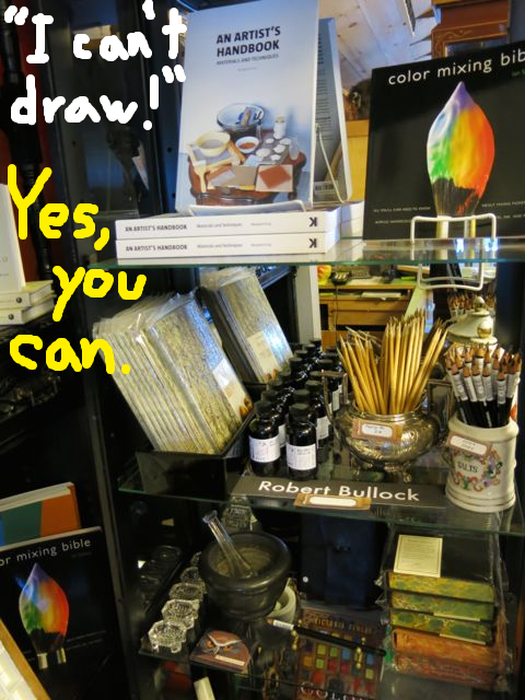 Shop, think and make art! We help visitors build their creative tool kit—including art supplies and, of course, notebooks—to take out into life and record impressions of what they see and learn.