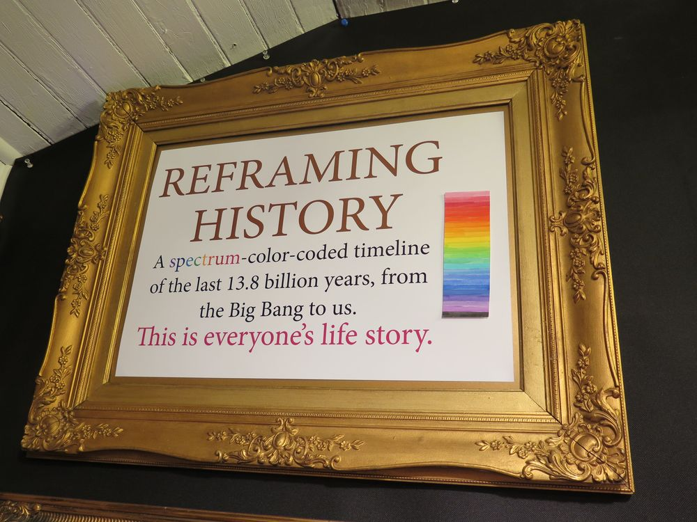 We introduced our gold-framed, spectrum-color-coded Reframing History timeline of the universe in Northeast Harbor in 2015. We'll be developing it further in the future.