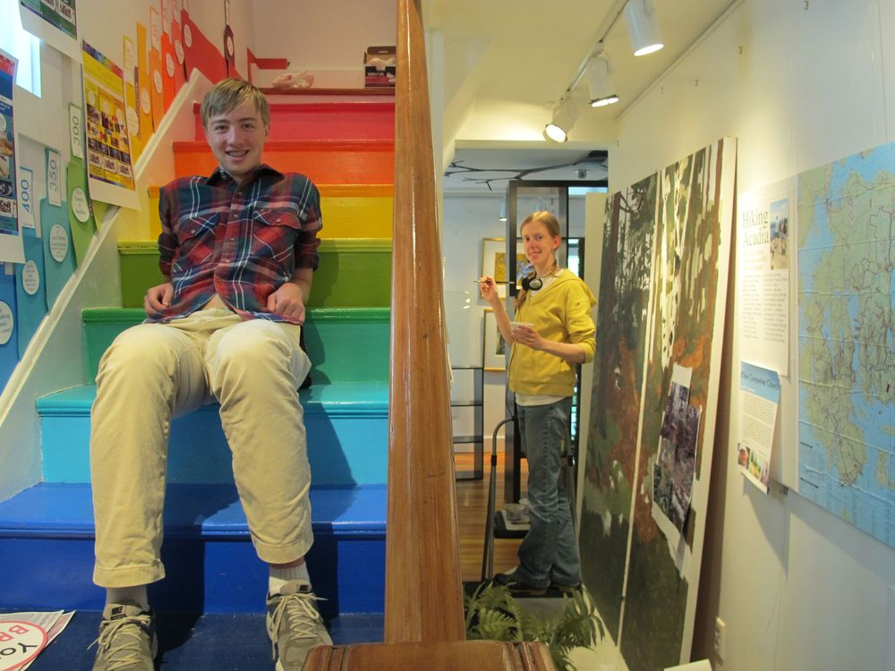 While Amy Gagnon continued applying her artistic talents to hallway nature murals, high school senior-to-be David Eacho, our longtime robotics and engineering whiz, made a surprise visit and pondered a project he and fellow student collaborator Melanie Ambler have been developing for our 24-color-coded, 13.8-billion-year staircase.