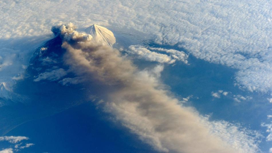 NASA just released photos of the erupting Pavlof Volcano in Alaska, taken from the International Space Station. Wow.