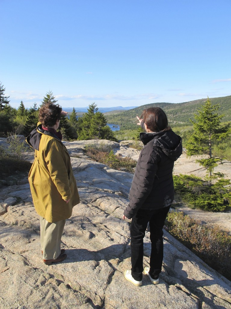 Our friend Rachel (left), from Nova Scotia, helped us with Naturalist's Notebook work and joined us on a hike up South Bubble mountain in Acadia National Park. Here she and Pamelia look out at Eagle Lake.
