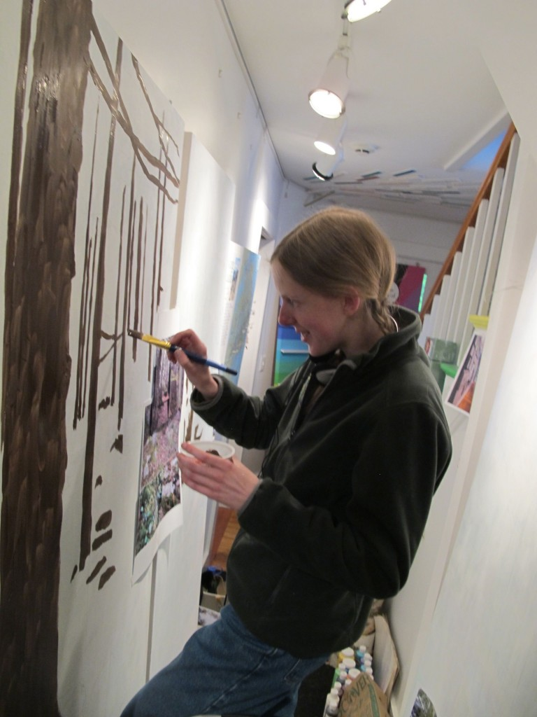 Preparations for The Naturalist's Notebook season—which opens on June 24—are gearing up. Here new Notebook team member (and gifted artist) Amy Gagnon works on an Acadia-related mural.