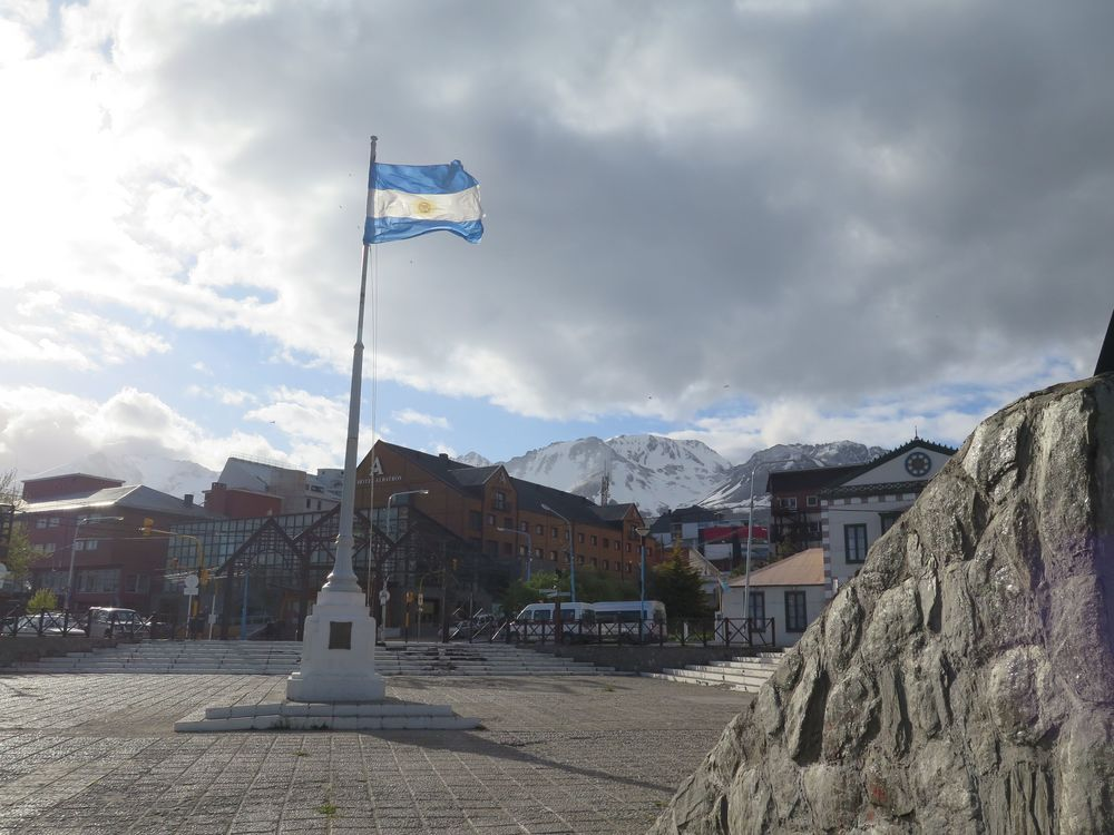 Winds in Ushuaia's city square whipped the Argentinian flag, whose blue-and-white motif reflected the snow-and-iceberg color palette that would soon surround us in the Antarctic.