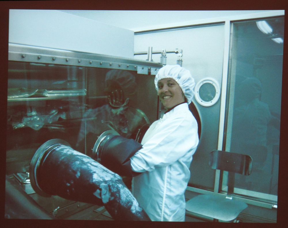 Karen handling Moon rocks at the Johnson Space Center.