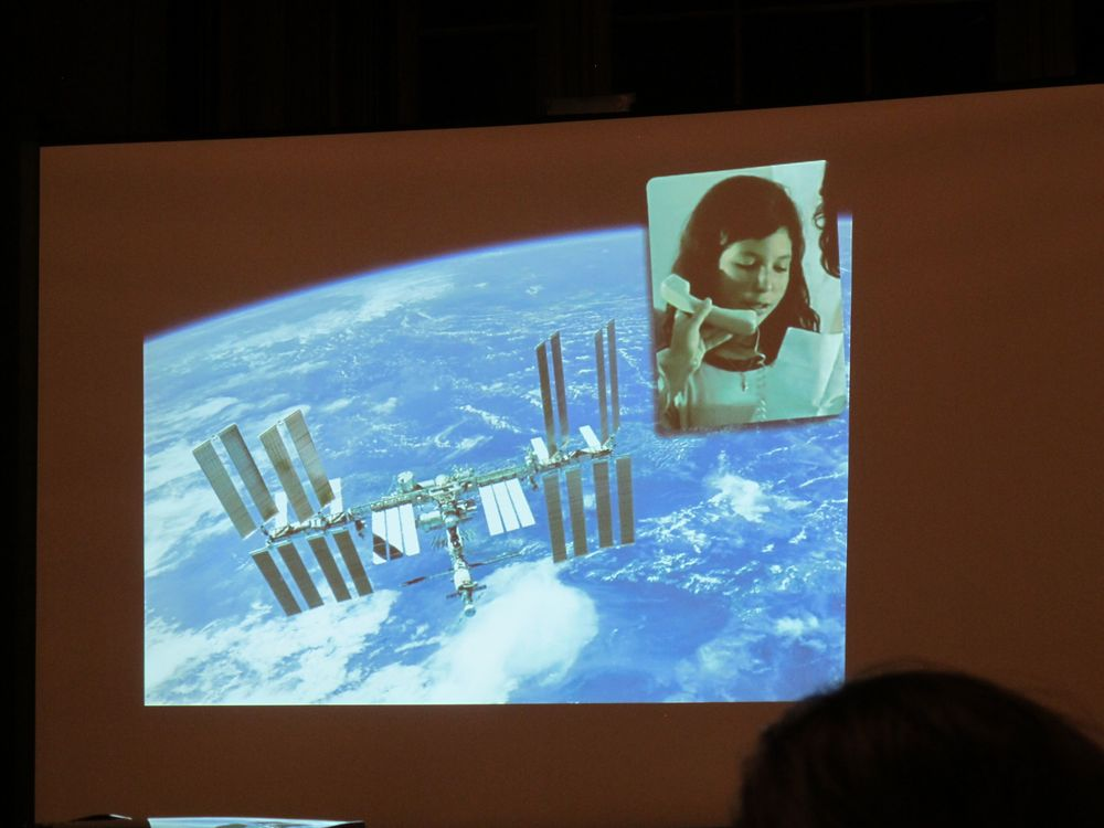 The phone hookup from the Space Station to students in Brazil.