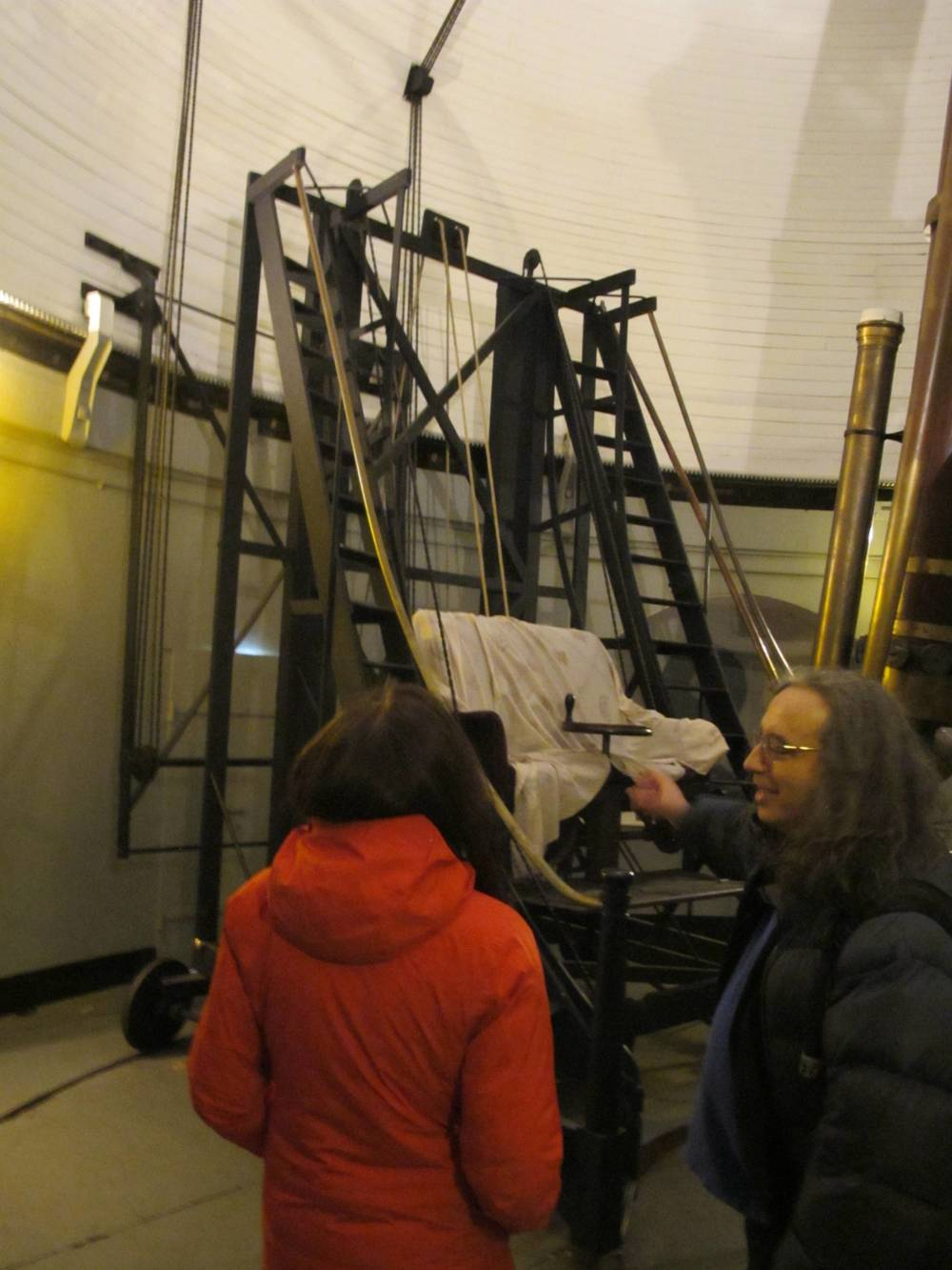 In showing us Harvard's 166-year-old Great Refractor telescope, Jonathan pointed out the step ladders that astronomers had to climb and descend while tracking the movement of stars and planets over the course of an evening.