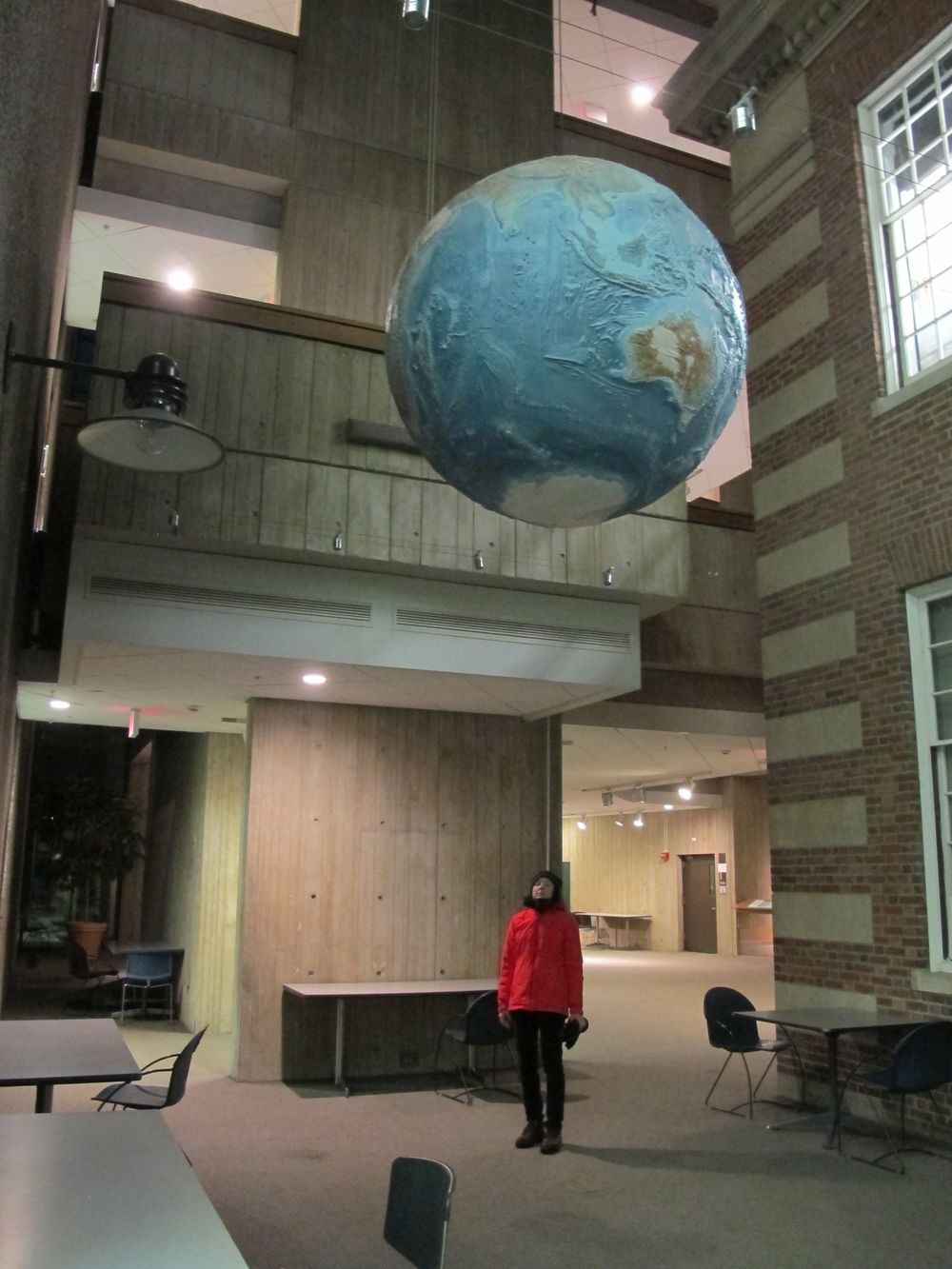 You Facebook followers already saw this shot of Pamelia under the big, revolving Earth in the Dartmouth physics department. We would love to add one of these (a smaller model) to the Notebook.