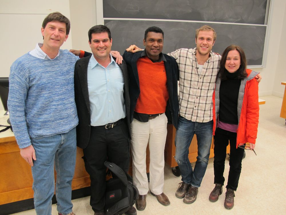 A cosmic collection of astrophysicists after the Dartmouth lecture: Miles Blencowe, Brian Keating, Stephon Alexander, Peter Johnson...and Pamelia.