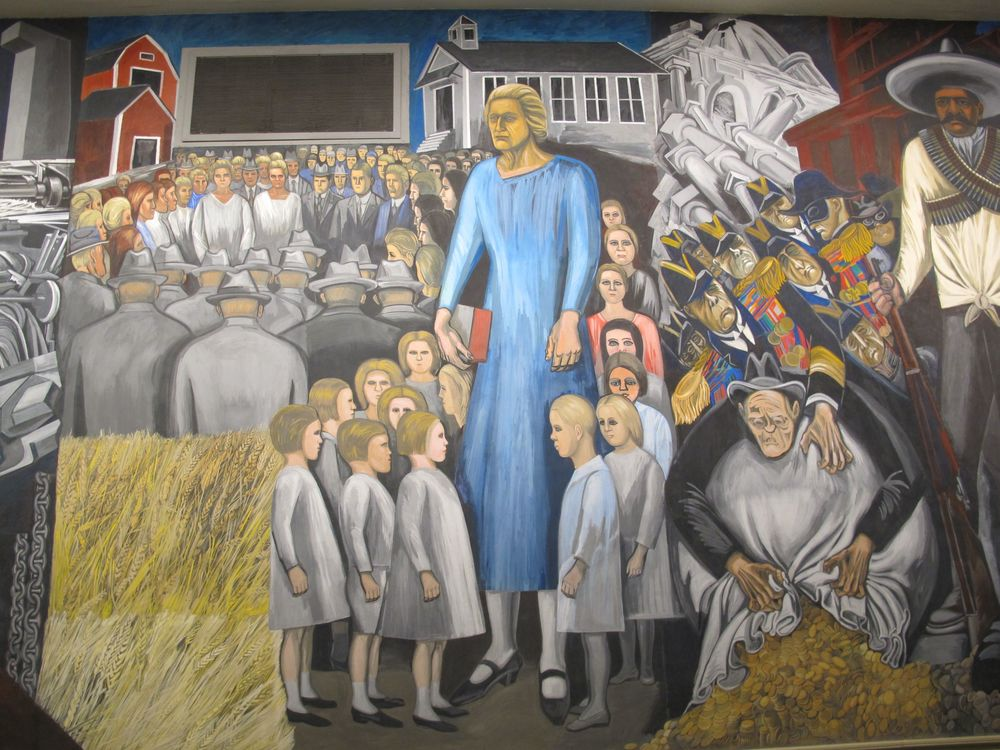 The murals stirred up some criticism, including this portrait suggesting that America's education system was a bit too rigid and regimented.