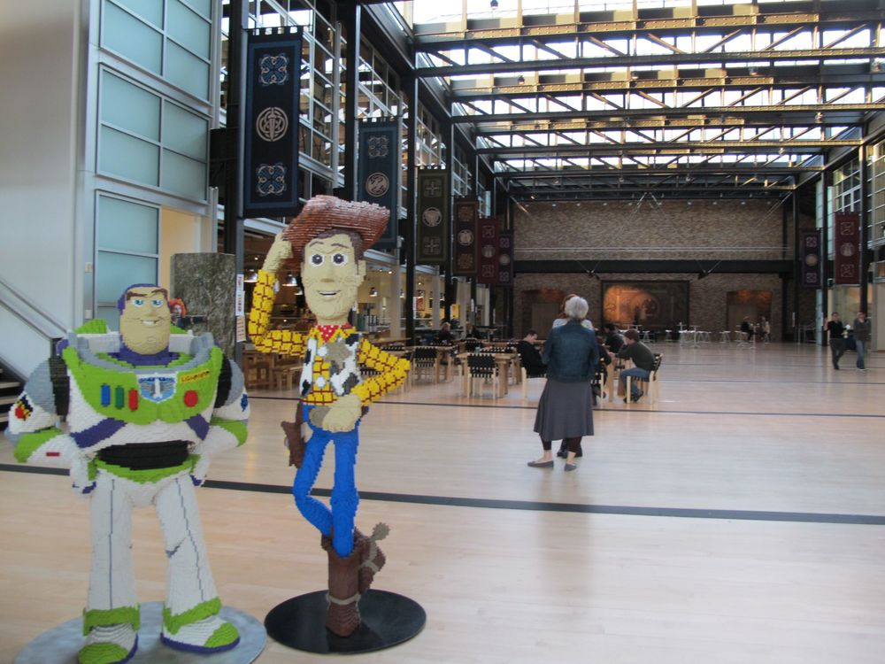 Steve Jobs designed a large open space in the main HQ building to encourage interaction and creativity among the entire Pixar staff.
