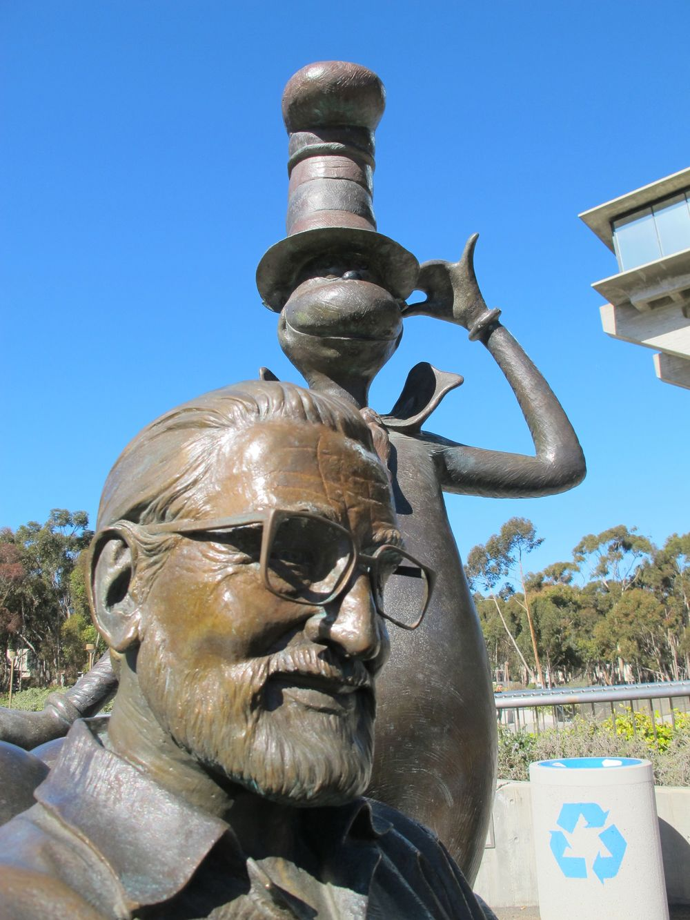 The UCSD's Geisel Library is named after Theodor Geisel, aka Dr. Seuss, who is honored with this statue.