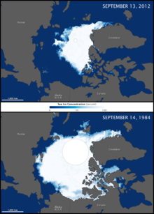 The shrinking Arctic ice.