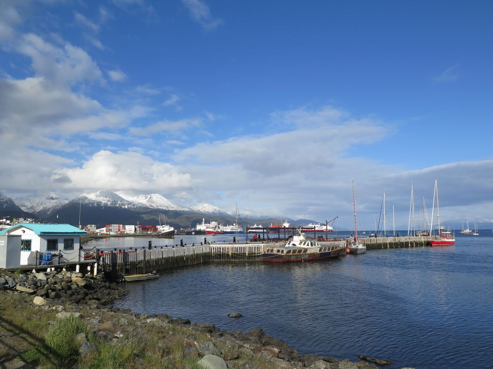 Never—not even at home in crazy New England—have we experienced weather that changes as rapidly and dramatically as that of the Antarctic and Tierra del Fuego. Throughout our trip we would routinely experience all four seasons in the span of a few hours. Here's Ushuaia's harbor when the conditions shifted, at least temporarily, from winter to spring.