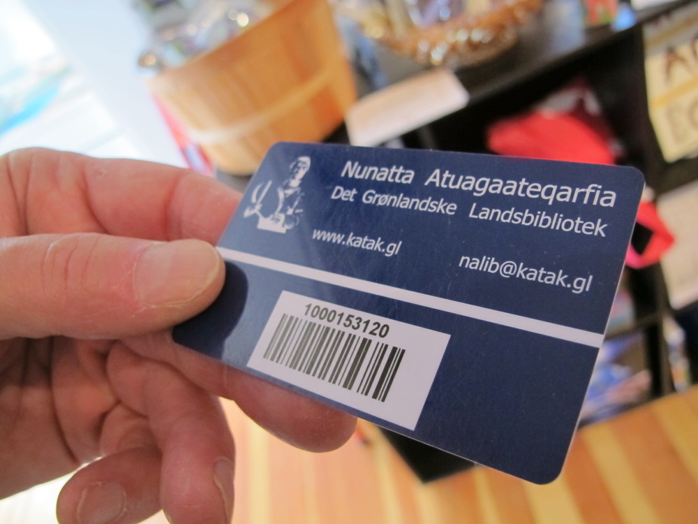 Pamelia and I never know what sort of conversations we'll get into with Notebook visitors, who are a fun and fascinating lot. Here one of them is showing me her library card from Greenland. It's written in Greenlandic, an Inuit language. Among the other topics of discussions were whether pigs have hypothalamus glands, how to create a solar clock, why chlorophyl is green and how little selenium there is in Maine's soil.