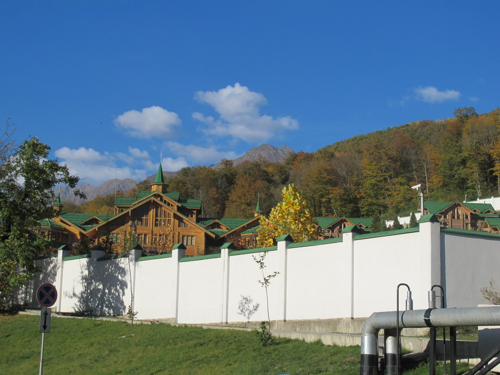 This is Vladimir Putin's Sochi dacha, adjacent to our hotel grounds. Those grounds, like the dacha, are fenced in and monitored with security cameras. That, alas, makes it impossible for hotel guests to walk out and hike in beautiful Sochi National Park, which surrounds us. Nevertheless, as part of its effort to make the Games environmentally friendly (no small challenge with so much construction going on) the Russian government is introducing new green building standards, minimizing the Games' carbon footprint and trying to protect or restore wildlife in the national park, including the endangered Persian leopard (also called the Caucasian leopard).