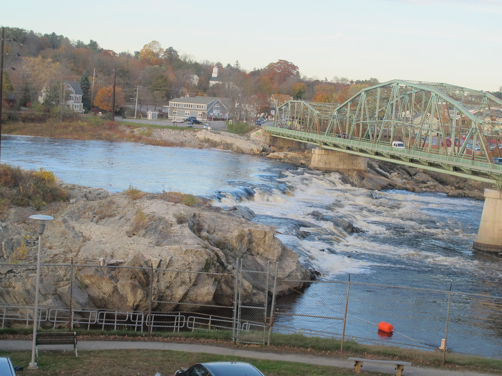 The mighty Androscoggin River, as seen through the windows at Frontier. The Androscoggin was once so polluted that it inspired then-Maine Senator Edmund Muskie to write the 1972 Clean Water Act. It's much better now, though—like our installation—it's still a work in progress.