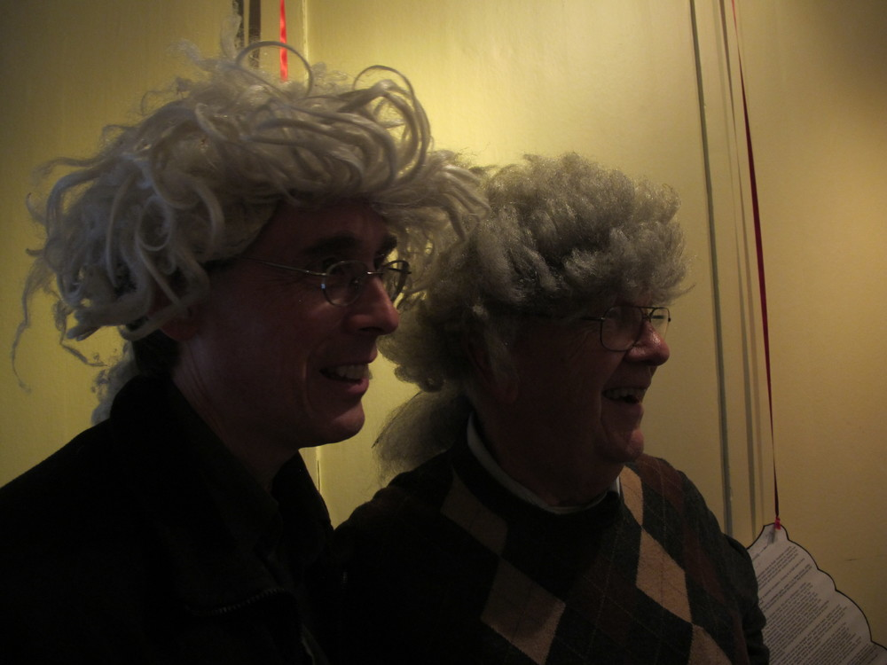 An interactive element of the Handel House museum is its wardrobe. My dad and I tested out replicas of the composer's wig—reminded me of the mad-scientist wigs we have at the Notebook. Pamelia looked quite dashing in Handel's blue jacket.