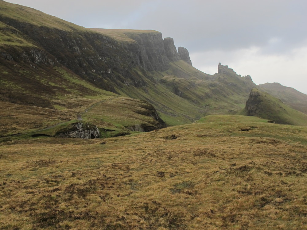 This mountainous section of Skye, known as the Quiraing, is still geologically shifting and has dramatic features called the Needle, the Table and the Prison. It also had 45 mph winds blowing when we wandered around it.