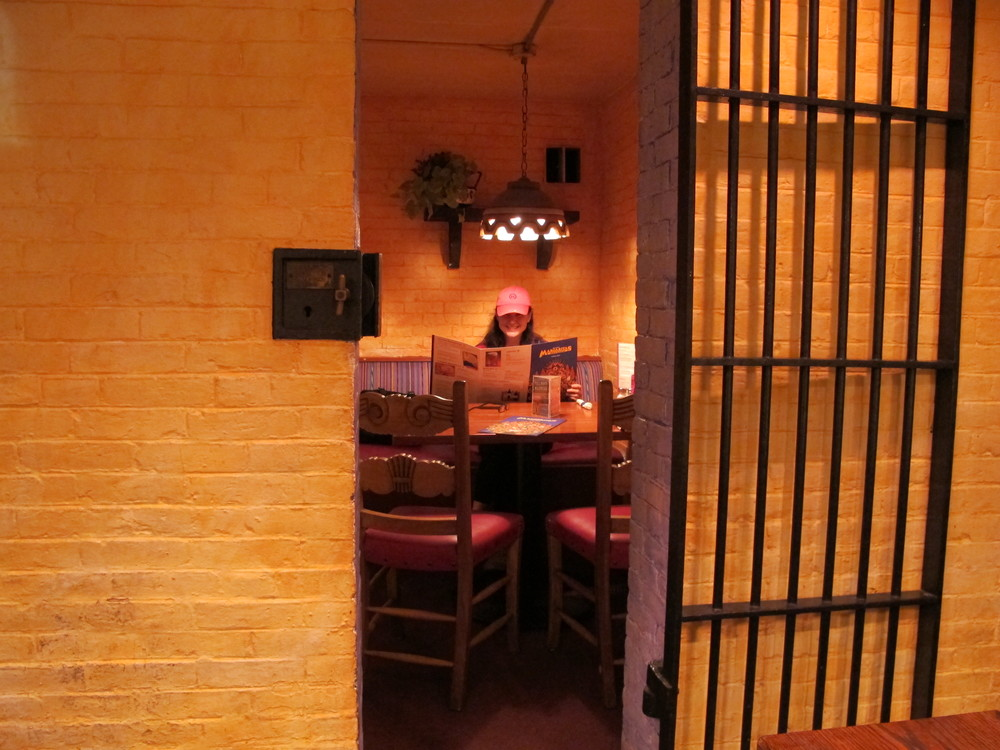 Here's the jail cell in which we enjoyed a fine, if confined, dinner in Concord.