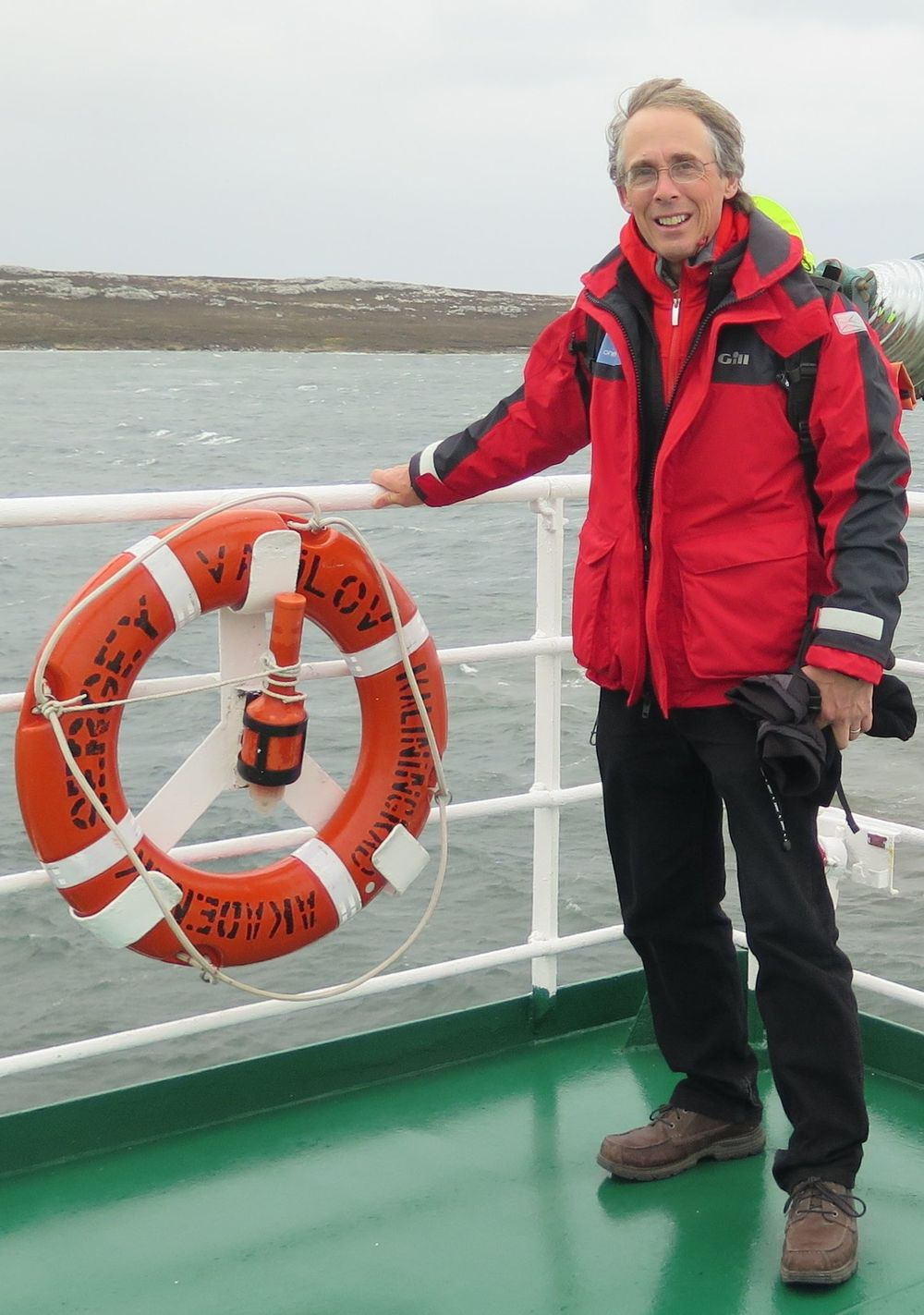 The next morning I went out on deck aboard the  Akademik Sergey Vavilov  and checked out the weather for Day Two in the Falklands: cold, windy and rainy, with a chance of snow.