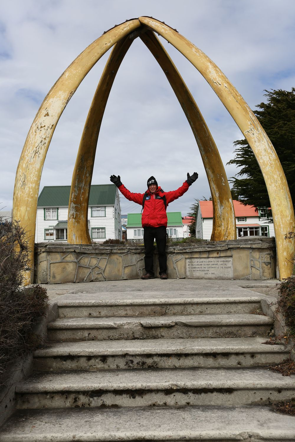 Perhaps the most striking sight in the center of Stanley is an arch that was made in 1933 from the jawbones of two blue whales to celebrate a century of British rule in the Falklands. We would be exploring the amazing world of whales and the horrific history of whaling in the Antarctic in the days ahead as we sailed on toward South Georgia Island.