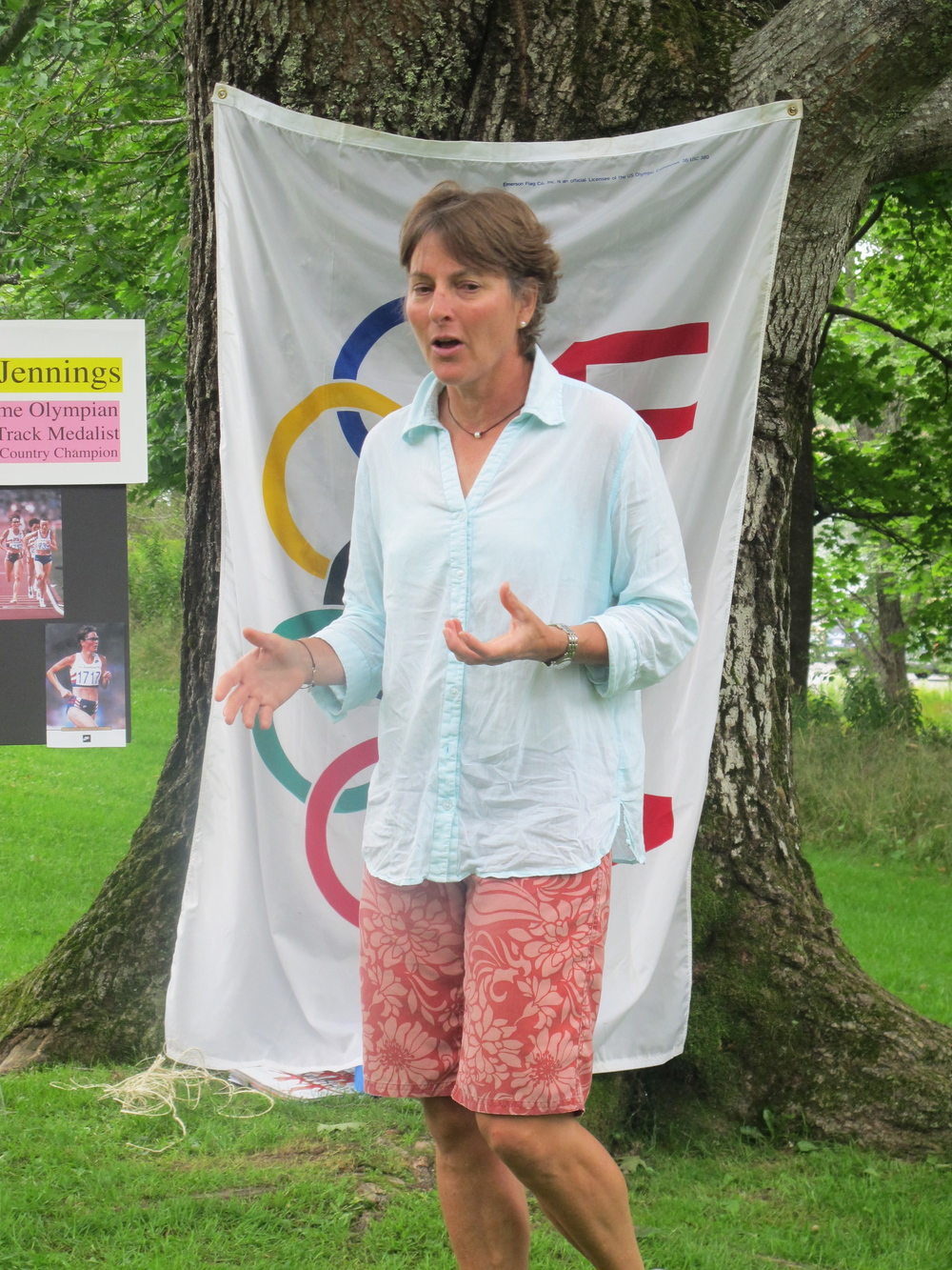 Three-time Olympic runner Lynn Jennings gave a fascinating Notebook talk on the Seal Harbor green about her career, the Olympics and running. Among the crowd was a group of young YMCA runners for whom Lynn's tale of perseverance was especially inspiring.