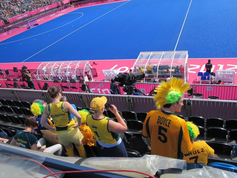 I sat behind fans from Australia who were waiting for their team, known as the Hockeyroos, to take the field.