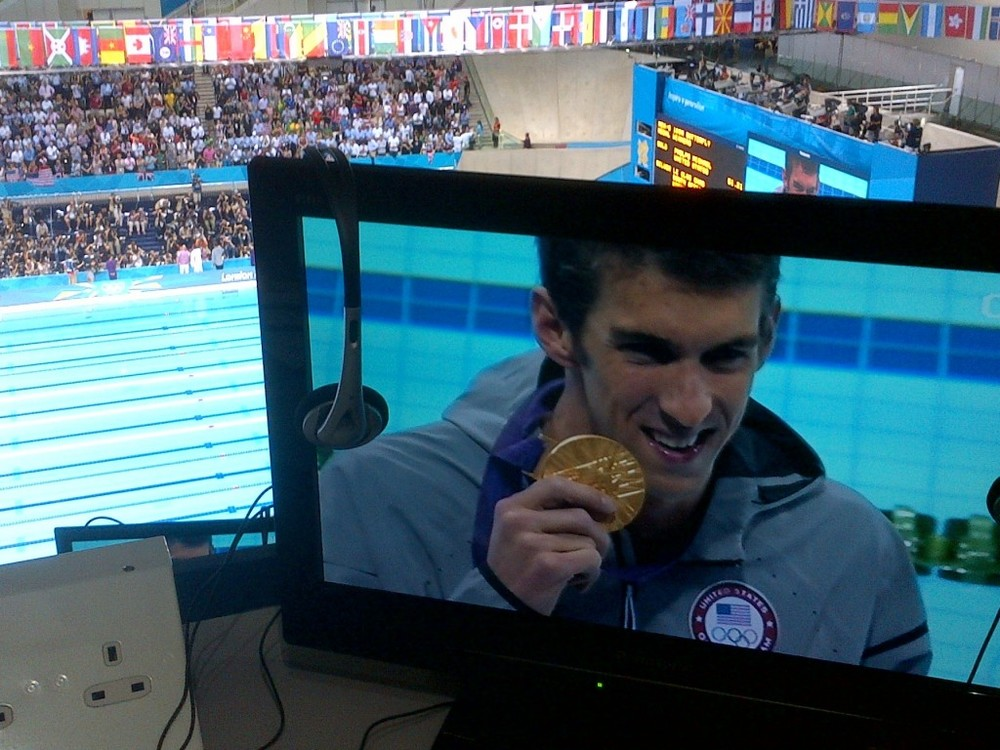 The view from my press-section seat on the night Michael Phelps won his final individual-event gold medal.