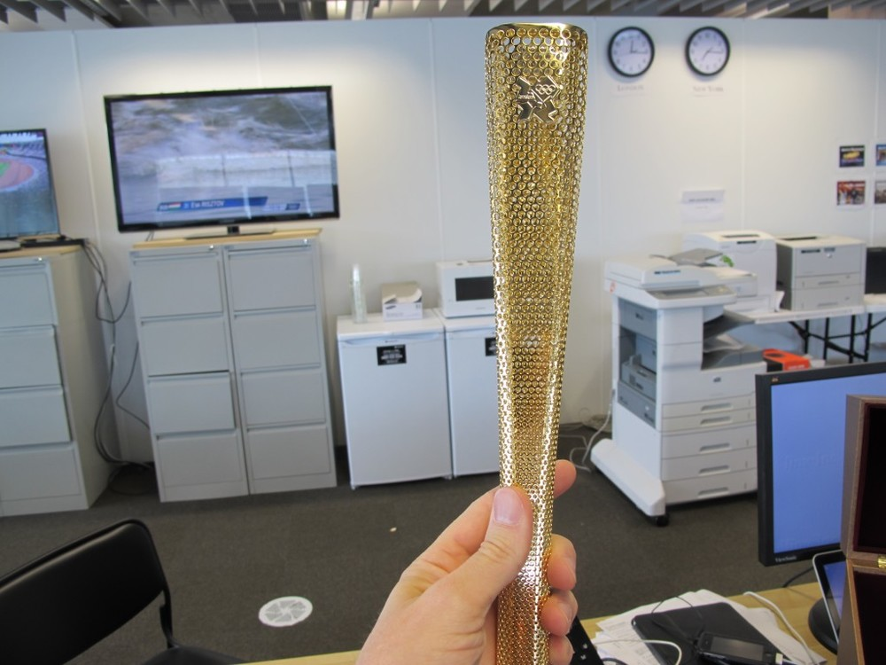 An international media group awarded replica Olympic torches to all journalists who have been to at least 10 Games. I failed to pick mine up, but I tested out a colleague's in our office.