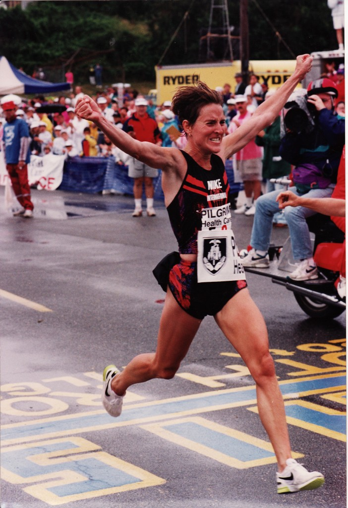 Lynn setting a record in the Falmouth road race in 1992.