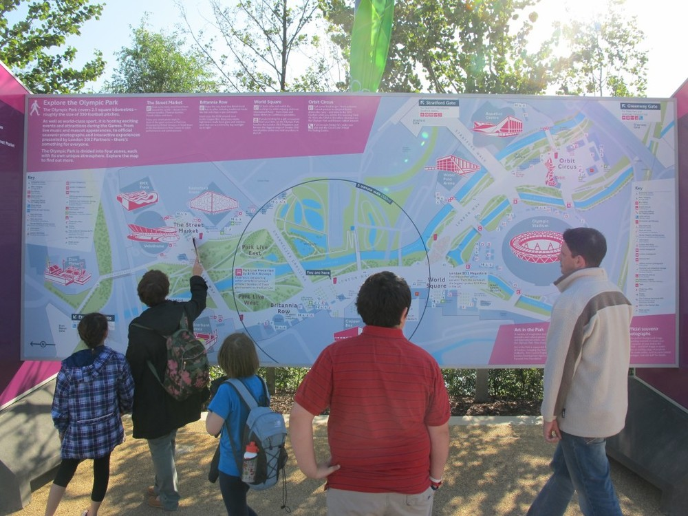 The Olympic Park is large—2.5 square kilometers, or 617 acres. Giant maps help visitors find their way around.