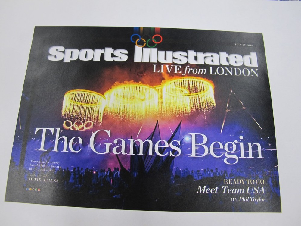 First, a quick look at the cover of the first issue of our Olympic daily app (called Sports Illustrated Live From London if you're interested in downloading it from the Apple store). It's free, and we're finishing a new issue in time for you to receive it by 8 p.m. each day. We were working on it until the wee hours last night, as we will be doing on issues for the next 16 days (while also covering the Games 24/7 for the SI website and, of course, the weekly magazine.