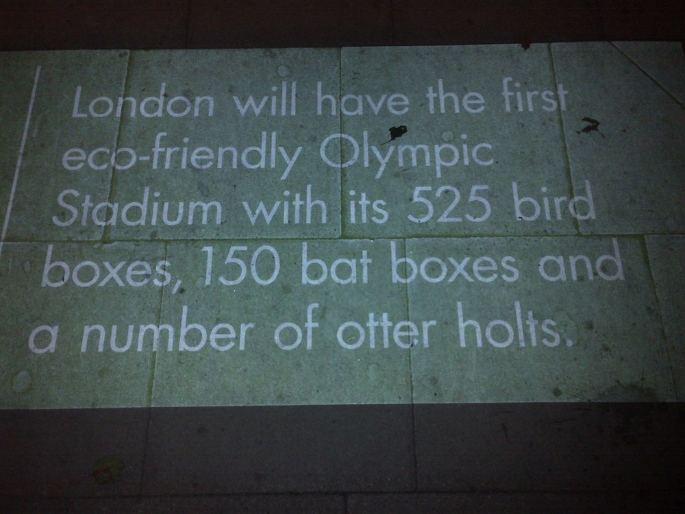 As this sidewalk message notes, the Olympic Stadium is for the birds—and the bats.