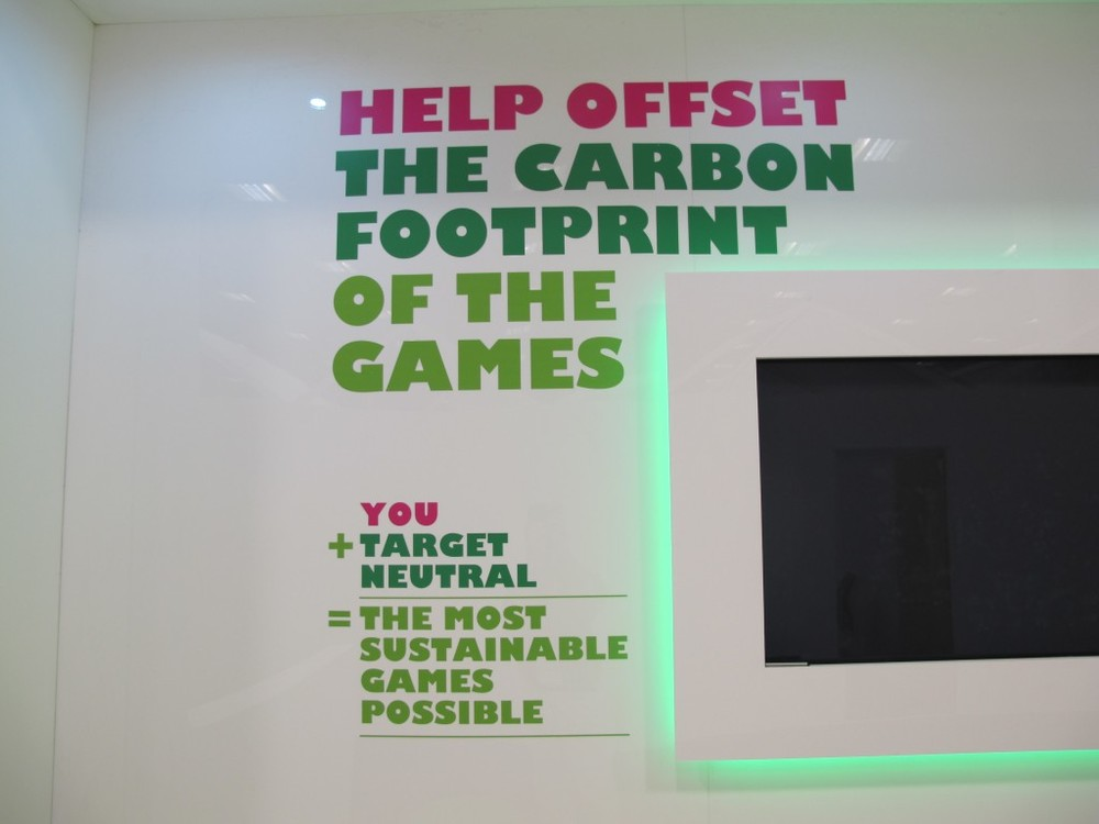 As suggested by this installation at the press center, there's a program in place under which ticket-holders can offset the carbon footprint of their trip to the Games. Olympic sponsor BP is underwriting it, and yes, you're allowed to be cynical about that. Nevertheless, at least it might make more people aware of what the term carbon footprint means.