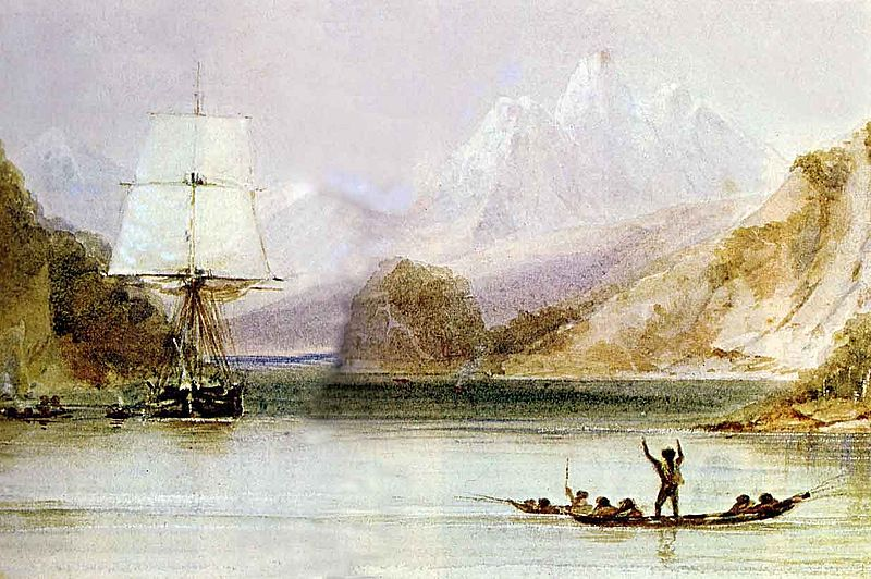 Here is the  HMS Beagle  at Tierra del Fuego, as painted by our ship's draughtsman, Conrad Martens, who became my lifelong friend. Notice the Fuegians waving to us. Do you think they shall still be there when I arrive?
