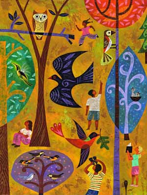 This Rafael Lopez painting is the poster for this year's big event. Organizers say the piece reflects the joy, curiosity, and beauty of birds, while sharing the importance of community in bird conservation.