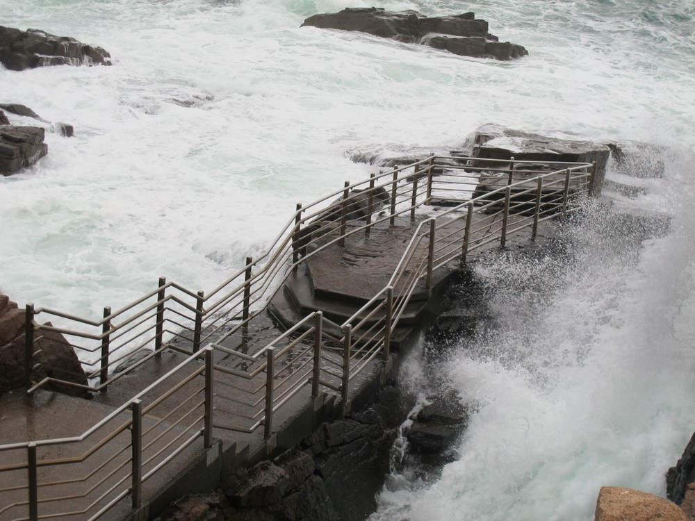 The rough water forced the closing of the Thunder Hole viewing platform in Acadia.
