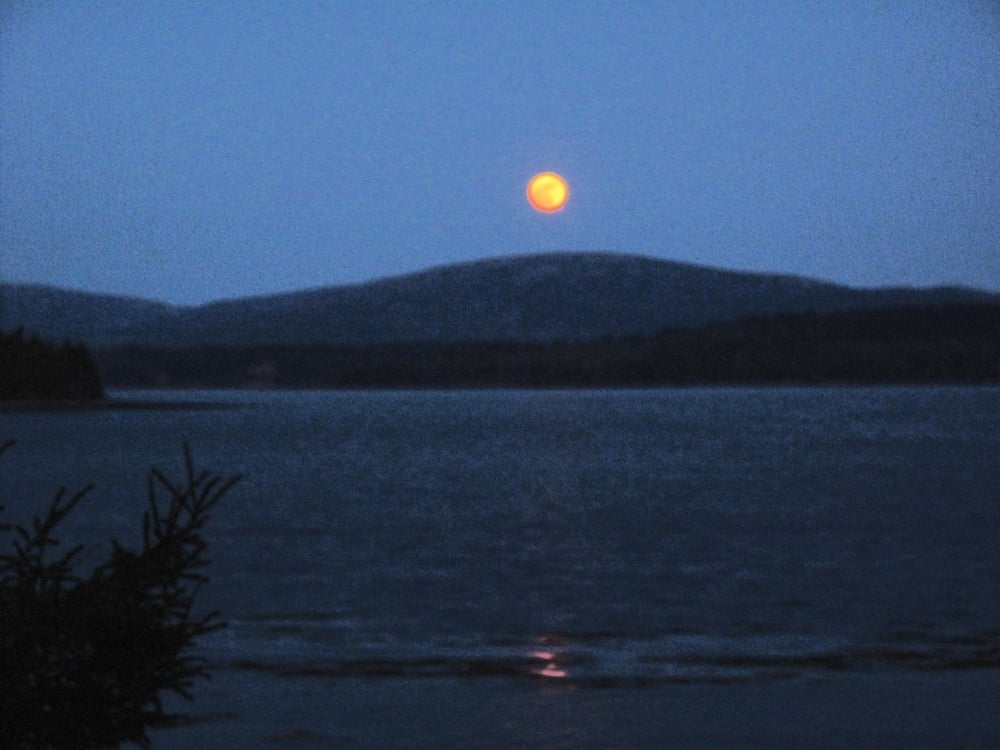Pamelia's moonrise photo, tweaked with a smudge tool.