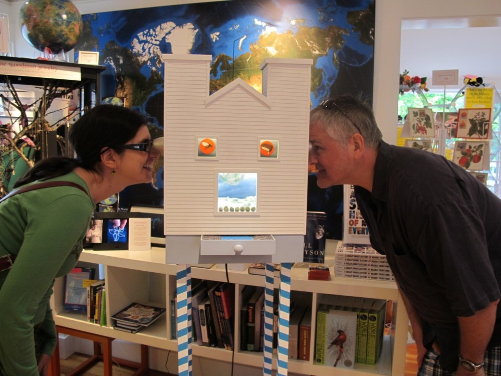 Here's one of Rocco's pieces (complete with 3-D viewers) enchanting a couple of visitors at The Naturalist's Notebook in 2010. A mechanical mosquito is flying around the top of the structure.