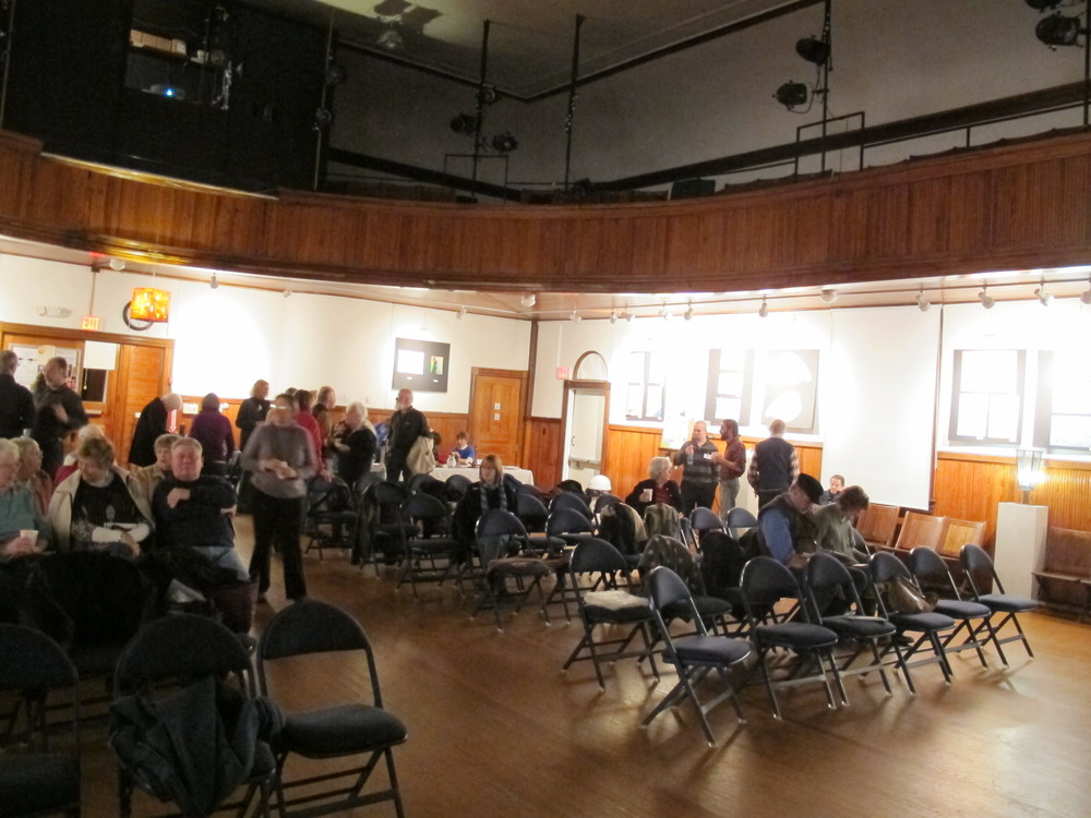 We gathered in cozy old Hammond Hall, which has been repaired and revived by Schoodic Arts for All.