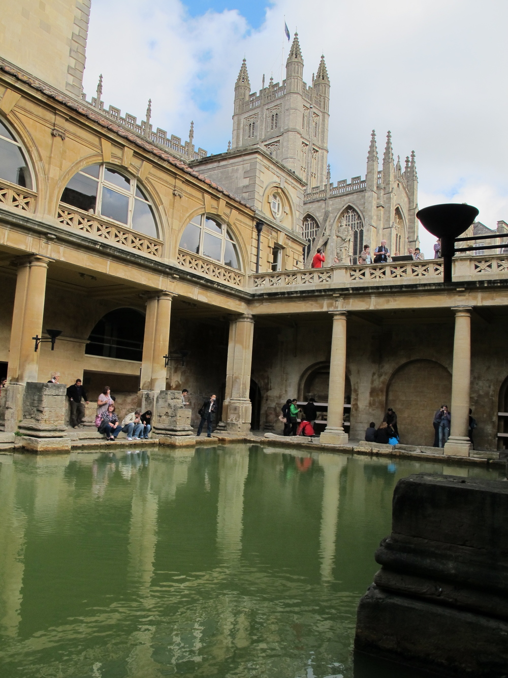In the shadow of Bath's famous abbey, the geothermal waters still bubble up. These ancient Roman baths were once covered by a massive roof; now sunlight has allowed algae to grow, turning the waters a lovely, if uninviting, green.