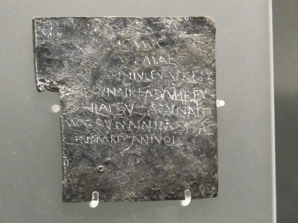 Don't sweat the small things? That apparently wasn't a common phrase (translated into Latin) in ancient Rome. This is one of several curse tablets on display in the Roman baths museum. People who were upset at somebody would inscribe a curse on a sheet of lead or pewter, fold the sheet and drop it into the sacred spring for the gods to act upon. One typically peeved individual whose gloves had been stolen wrote a road-rage-worthy curse instructing the gods that the culprit should lose his mind and his eyes.