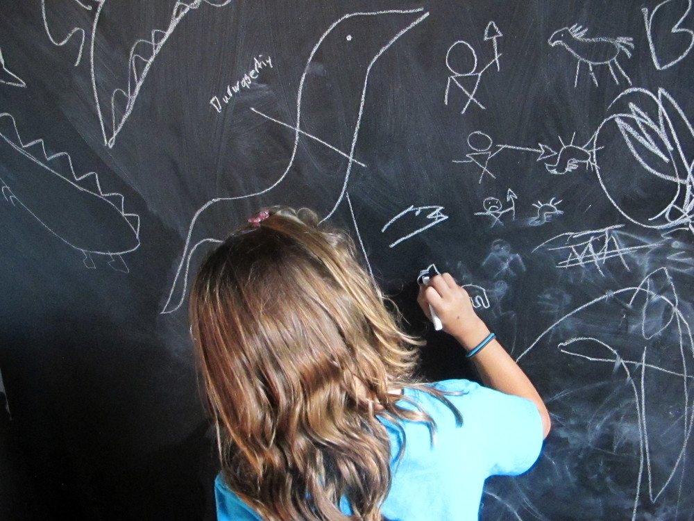 Kids continue to do chalk drawings in the Cave Room at the Notebook—a case of art imitating life. There was news this week that archaeologists have found evidence of 13,000-year-old cave paintings of mammoths, horses and other animals done in France by children estimated to be between 3 and 7 years old. The telltale evidence is the size of the fingers used to create the art, some of which was described as cartoon-like.