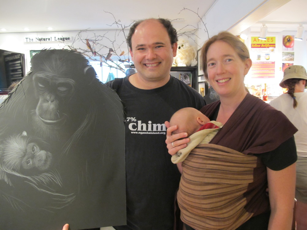 Lilian, his wife, Anna, their five-week-old daughter, River....and another of Kathy's exquisite chimp illustrations.