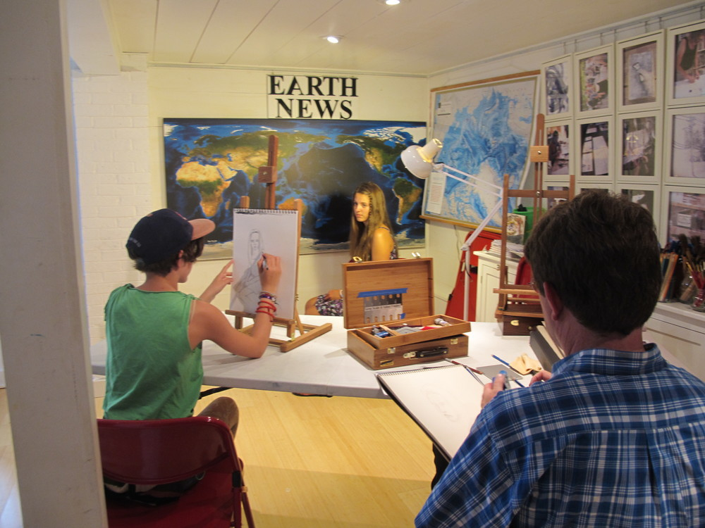 Part of a portrait workshop led yesterday afternoon by gifted artist and teacher Kathy Coe, who will be running our children's art workshops for only one more week before heading home.