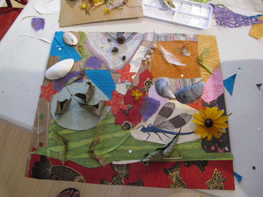 One of the nature collages from Kathy Coe's Tuesday kids' art workshop at the Notebook.